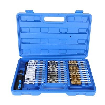 """38X Wire Brush Cleaning Brushes Set 1/4""""Hex Remove Rust Drill Bit For Metal Wood"""
