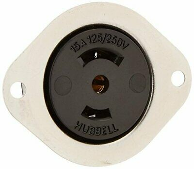 Hubbell HBL7487 Locking Flanged Receptacle, Midget, 15 amp, 125/250V, Ml-3R