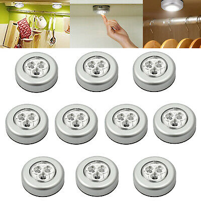 10x 3LED Touch Push On/Off Light Self-Stick On Click Battery Button Night Light