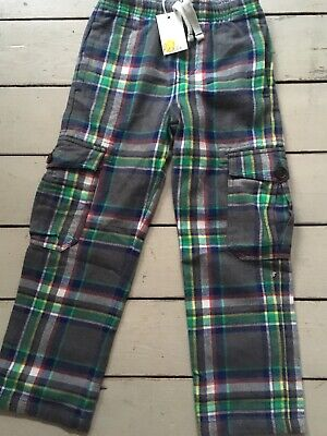 Bnwt Mini Boden Boys Grey Checked Tartan Soft Warm Cargo Trousers 11 years
