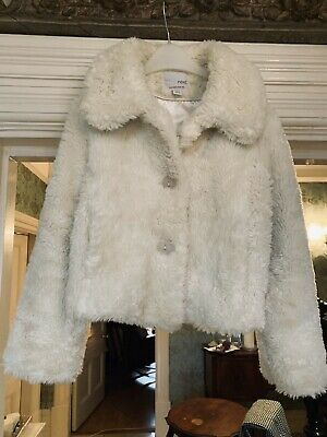 NEXT Girls CREAM FAUX FUR SHORT CoAT AGE 7-8 Years