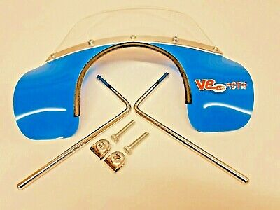 Vespa Px / Lml Solid Light Blue Mod Style Flyscreen With Fitting Brackets