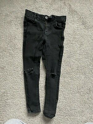 boys next black demin skinny jeans spray on ripped age 6