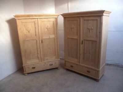 A Cottage Low Pair of Antique/Old Pine Motif Knockdown Wardrobes to Wax/Paint