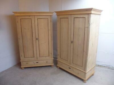 A Beaded Pair of Tall Antique/Old Pine Knockdown Wardrobes to Wax/Paint