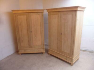 A Plain Pair of Extra Deep Antique/Old Pine Knockdown Wardrobes to Wax/Paint