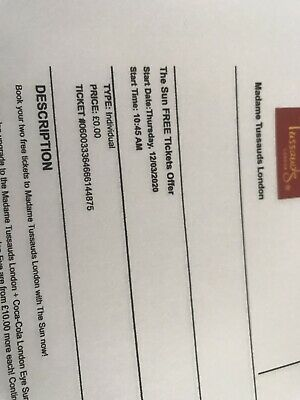 2X Madame Tussauds Tickets  London - 12 Th March at 10.45