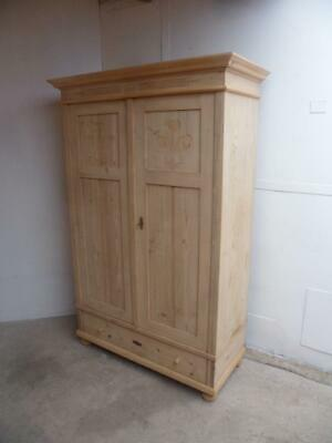 An Art Nouveau Antique/Old Pine 2 Door Carved Knockdown Wardrobe to Wax/Paint