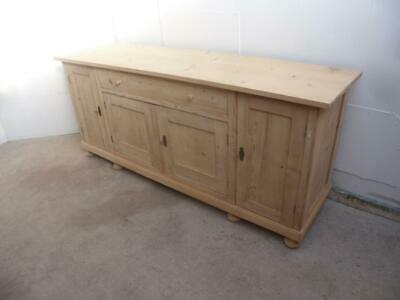 A Mint Clean 4 Door Antique/Old Pine Dresser Base/Flat TV Stand to Wax/Paint