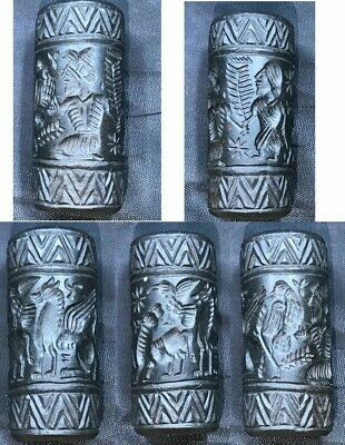 Unique Near Eastern ancient black Jade Stone Cylinder Seal Bead Amazing intaglio
