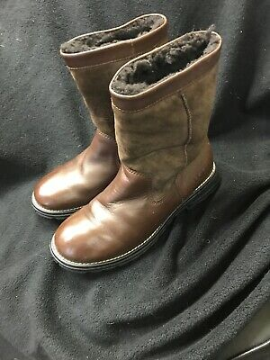 UGG Australia 5381 Brooks Brown Leather Shearling Boots Women's Size 8