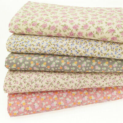 100% COTTON FABRIC BUNDLE Vintage Ditsy Small Flower Pink Floral Craft Material
