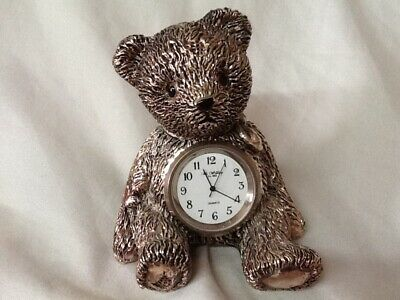 Quartz  Silvertone Teddybear Clock By Wm Widdop Est 1883.
