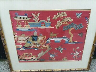 Chinese Antique Embroidered Panel Qing Dynasty