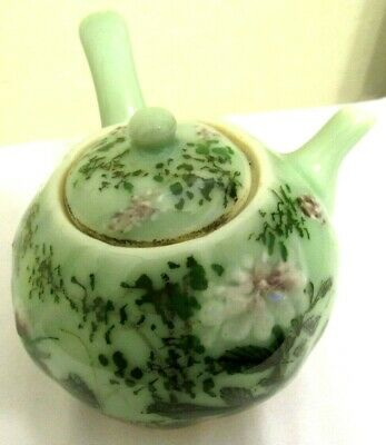 Antique Chinese Celadon Porcelain+Pottery Single Teapot-Handpainted-Early 1900's