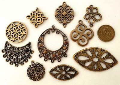 Vintage Brass & Gold Tone Metal Filigree Charms Findings Mix 10
