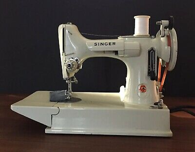 Vintage Singer 221K White Featherweight Sewing Machine