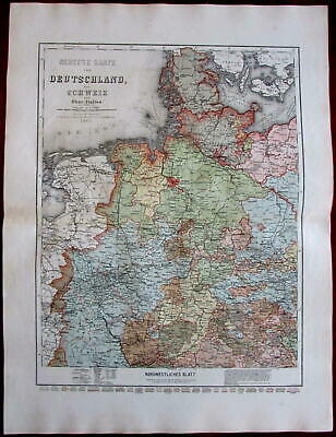 North West Germany Westphalia north Italy 1865 Meyer detailed antique map