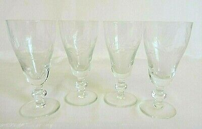 Antique Edwardian Sherry Glasses Hand Etched Matching Set of 4