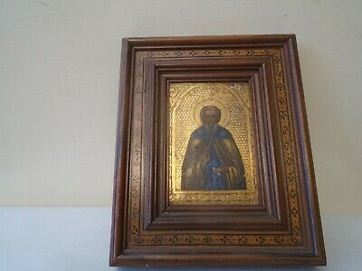 Fine quality Russian antique hand painted wooden icon with Tunbridge ware frame