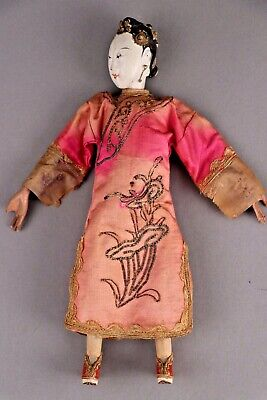 "Antique Female Chinese Opera Doll, 10,"" in Pink, ca. Late 1800s - 1920s"