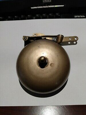 Antique Brass & Iron Pull Chain Door Bell Ringer Boxing Ring Fire Alarm - Works!