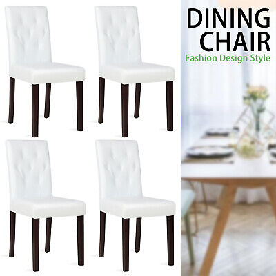 Set of 4 Dining Chairs White Leather Kitchen Cafe w/ Tufted Backrest & Wood Legs
