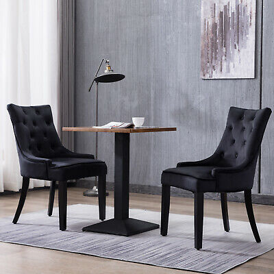 Set of 2 Dining Chairs Tufted Design Fabric Kitchen Cafe Chairs w/Wood Leg Black