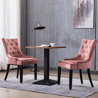Set of 2 Dining Chairs Tufted Design Fabric Kitchen Cafe Chairs w/ Wood Leg Pink