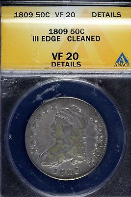 1809 - Anacs Vf20 Details Iii Edge Cleaned Capped Bust Half Dollar!! #B15954