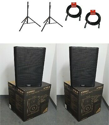 """(2) QSC K12.2 Active 12"""" Powered 2000 Watt Loudspeaker w/ (2) Stand & (2) Cable"""