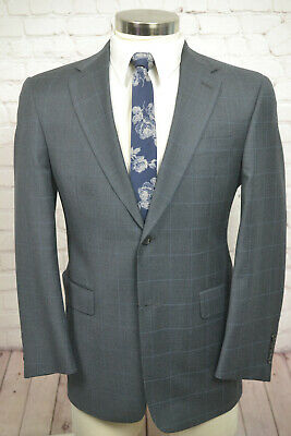 Austin Reed Mens Gray Overcheck Wool Pleated Front 2 Piece Suit 38S 32Wx26L