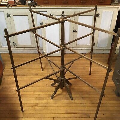 Antique Vtg 1800s Quilt Herb Collapsible Folding Drying Rack Natural Wood