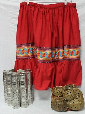 Native American Traditional Seminole Women's Patchwork Skirt Red Size XXL