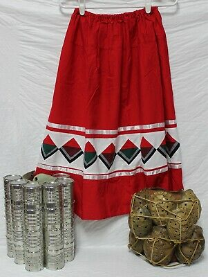 Native American Traditional Seminole Women's Patchwork Red Skirt Size Large