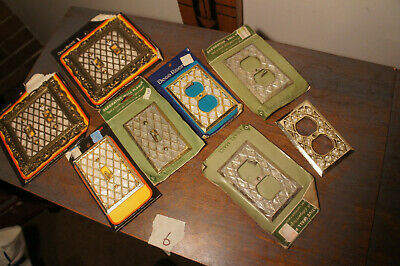 LOT 6 Vintage NOS Faux Mother of Pearl Diamond Single Light Switch Vtg Plate