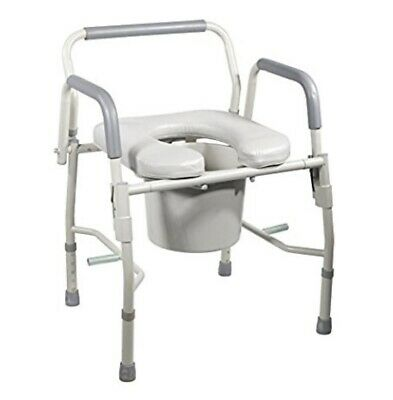 Drop Arm Bedside Commode by HEALTHLINE,Bedside Commode with Drop-Arm and Safety