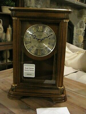 Seiko Traditional Elegance Mantel Clock with Pendulum and Chime QXQ008BLH