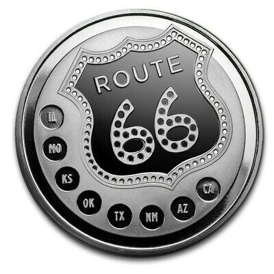 ROUTE 66 Famous Highway 1 oz .999 SILVER Coin Silver Round in airtite capsule