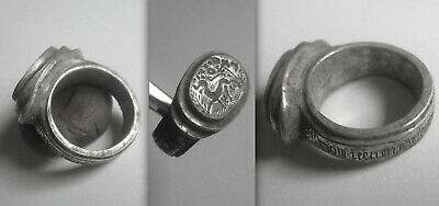 Heavy Medieval KNIGHTS CRUSADER Silver Ring, incised hoop with Psalm 26 of David