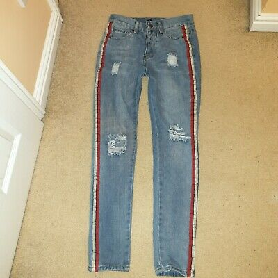 Boohoo Man Mens Boys Ripped Blue Jeans With Stripe Regular Size 29 L32