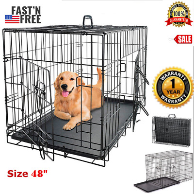 【20% OFF】Extra Large Dog Crate 48 Kennel Pet Cage 2 Door XXL Metal Wire Tray Pan