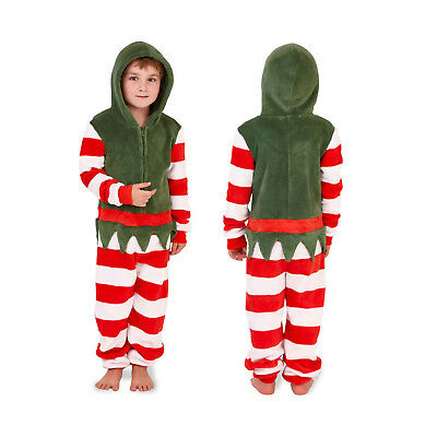 Nifty Kids Christmas Elf Super Soft All In One Girls Festive Hooded Sleepsuit