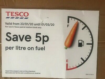 Tesco Fuel Coupon Voucher Save 5p per litre At Petrol Station To 1 March 2020