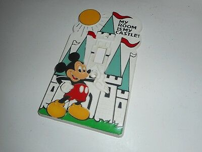 "Vintage Disney Mickey Mouse ""My Room is My Castle"" Light Switch Cover"