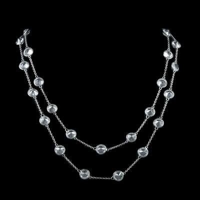 Art Deco Platinon Paste Long Guard Chain Circa 1930