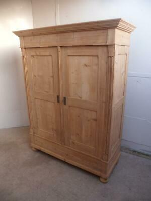 A Victorian Antique/Old Pine 2 Door Knockdown Panelled Wardrobe to Wax/Paint