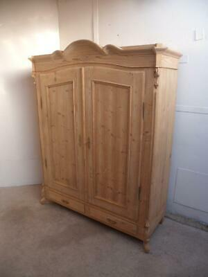 A Georgian Antique/Old Pine 2 Door 2 Drawer Knockdown Wardrobe to Wax/Paint