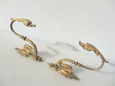 Antique Brass Curtain Tie Backs Hooks French Rococo Baroque Old Georgian Urn