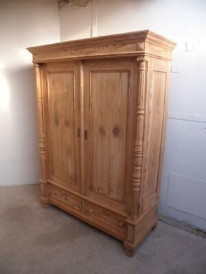 An Early Victorian Antique/Old Pine 2 Door Knockdown Wardrobe to Wax/Paint